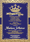 Dark Blue Gold Prince Royal Print at Home Digital Card
