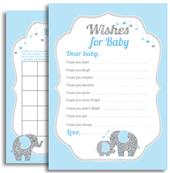 Blue Gray Baby Elephant Boy Shower
