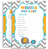 Grey Chevron Boy Elephant Shower = Orange Teal
