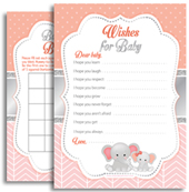 Coral Grey Elepahnt Silver Baby Shower