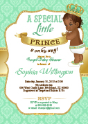 Mint Green and Gold African Prince invitation