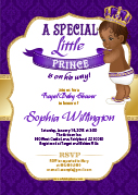 Purple Gold African Prince Invitation for baby shower