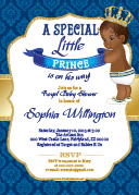 Royal Blue African American Brown face baby shower
