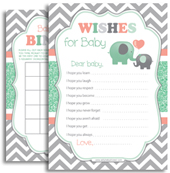 Mint peach grey elephant peanut shower