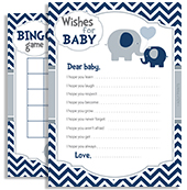 Chevron Peanut Dark Blue Grey Elephant Boy Shower