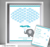 Boy Elephant Guest Book Alternative for a Baby Shower, Creative Nursery Wall Art Gift,  Turquoise,  Chevron