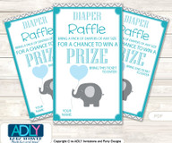 Boy ElephantDiaper Raffle Printable Tickets for Baby Shower,  Turquoise,  Chevron