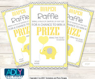 Boy Elephant Diaper Raffle Printable Tickets for Baby Shower,  Yellow Grey,  Chevron