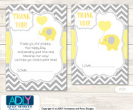 Boy Elephant thanks you Cards for a Baby  Boy Shower or Birthday DIY  Yellow Grey,  Chevron