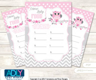 Spring Owl Guess Baby Food Game or Name That Baby Food Game for a Baby Shower, Grey Pink