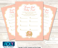 Peach Elephant Guess Baby Food Game or Name That Baby Food Game for a Baby Shower, Gold Coral