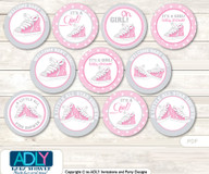 Baby Shower Girl Sneakers Cupcake Toppers Printable File for Little Girl and Mommy-to-be, favor tags, circle toppers, All Star, Pink