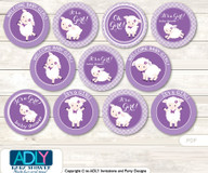 Baby Shower Girl Lamb Cupcake Toppers Printable File for Little Girl and Mommy-to-be, favor tags, circle toppers, Purple, Ship
