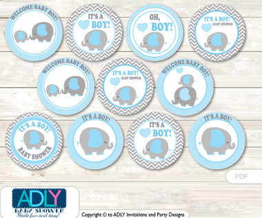 Baby Shower Grey Blue Elephant Cupcake Toppers Printable ...