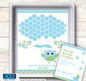 Boy Owl Guest Book Alternative for a Baby Shower, Creative Nursery Wall Art Gift, Spring, Blossom