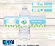 Boy Owl Water Bottle Wrappers, Labels for a Owl  Baby Shower, Spring, Blossom