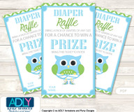 Boy Owl Diaper Raffle Printable Tickets for Baby Shower, Spring, Blossom