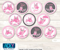 Baby Shower Girl Owl Cupcake Toppers Printable File for Little Girl and Mommy-to-be, favor tags, circle toppers, Spring, Forest