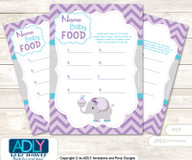 Purple Elephant Guess Baby Food Game or Name That Baby Food Game for a Baby Shower, Chevron Chevron