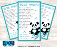 Request a Book Instead of a Card for Boy Panda Baby Shower or Birthday, Printable Book DIY Tickets, Chevron, Teal Grey