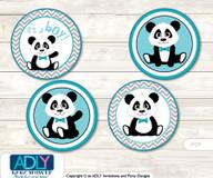 Printable  Boy Panda Candy Kisses for Baby Boy Shower DIY Teal Grey , Chevron