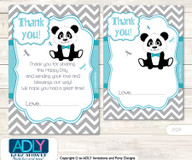 Boy  Panda Thank you Cards for a Baby Boy Shower or Birthday DIY Teal Grey, Chevron