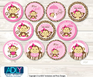 Baby Shower Safari Monkey Cupcake Toppers Printable File for Little Safari and Mommy-to-be, favor tags, circle toppers, Pink Brown, Leopard