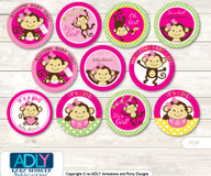 Baby Shower Girl Monkey Cupcake Toppers Printable File for Little Girl and Mommy-to-be, favor tags, circle toppers, Jungle, Hot Pink