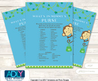 Boy Monkey What is in Mommy's Purse, Baby Shower Purse Game Printable Card , Blue Green,  Jungle