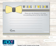 Yellow Grey Little Man Bow Tie Words of Wisdom or an Advice Printable Card for Baby Shower, Chevron