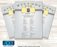 Little Man Bow Tie What is in Mommy's Purse, Baby Shower Purse Game Printable Card , Yellow Grey,  Chevron