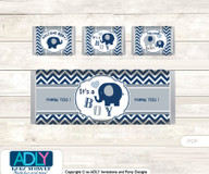 Boy Peanut Chocolate Bar Wrapper and Nuggets Candy Wrapper Label for Baby Boy Shower  Blue Grey , Chevron