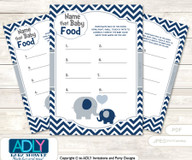 Boy Peanut Guess Baby Food Game or Name That Baby Food Game for a Baby Shower, Blue Grey Chevron