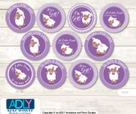 Baby Shower Purple Lamb Cupcake Toppers Printable File for Little Purple and Mommy-to-be, favor tags, circle toppers, Afro-american, Sheep
