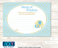 Baby Blue Boy Elephant Words of Wisdom or an Advice Printable Card for Baby Shower, Gold