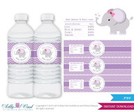 Purple Girl Elephant Baby Shower Water Bottle Wrappers, Labels, lilac chevron- it's a Girl, gray, pink-ONLY digital file -ao48
