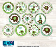Baby Shower Boy Peanut Cupcake Toppers Printable File for Little Boy and Mommy-to-be, favor tags, circle toppers, Elephant, Sage Brown