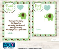 Boy  Peanut Thank you Cards for a Baby Boy Shower or Birthday DIY Sage Brown, Elephant