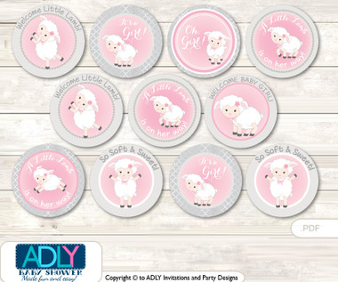 Baby Shower Pink Lamb Cupcake Toppers Printable File For