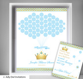 Blue Prince Guest Book Alternative for a Baby Shower, Creative Nursery Wall Art Gift, Chevron, Gold