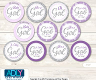 Baby Shower Purple Girl Cupcake Toppers Printable File for Little Purple and Mommy-to-be, favor tags, circle toppers, Bokeh, Gray