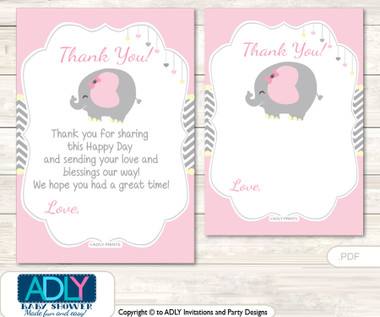 Girl Elephant Thank you Cards for a Baby Girl Shower or Birthday ...