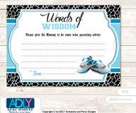 Black Sneakers Jumpman Words of Wisdom or an Advice Printable Card for Baby Shower, MVP