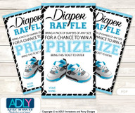 Sneakers Jumpman Diaper Raffle Printable Tickets for Baby Shower, Black, MVP