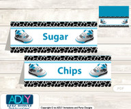 Printable Sneakers Jumpman Buffet Tags or Food Tent Labels  for a Baby Shower or Birthday , Black, MVP