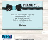 Aqua Bow Tie Thank you Printable Card with Name Personalization for Baby Shower or Birthday Party