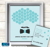 Aqua Bow Tie Guest Book Alternative for a Baby Shower, Creative Nursery Wall Art Gift, Black, Polka