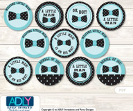 Baby Shower Aqua Bow Tie Cupcake Toppers Printable File for Little Aqua and Mommy-to-be, favor tags, circle toppers, Polka, Black