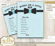 Aqua Bow Tie Wishes for a Baby, Well Wishes for a Little Bow Tie Printable Card, Polka, Black