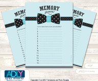 Aqua Bow Tie Memory Game Card for Baby Shower, Printable Guess Card, Black, Polka